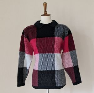 VTG Alfred Dunner Checkered Collared Sweater